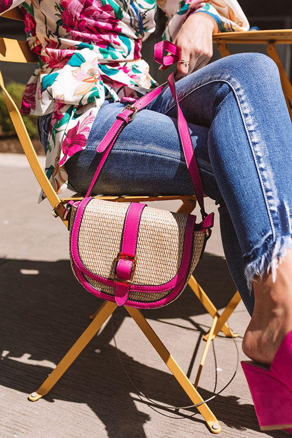 Chic Surroundings Woven Crossbody In Fuchsia