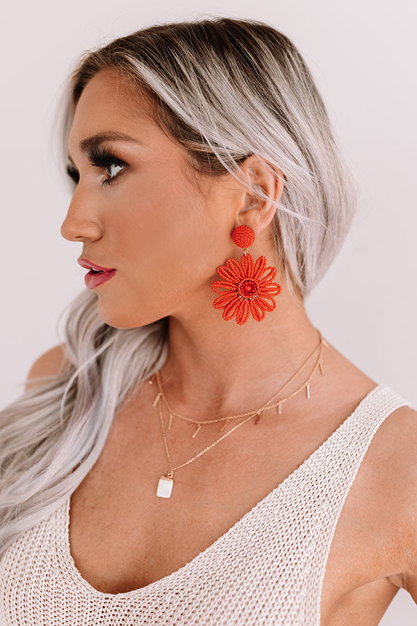 Coast My Way Beaded Earrings In Red