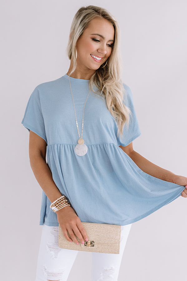 A Moment's Notice Shift Top In Sky Blue
