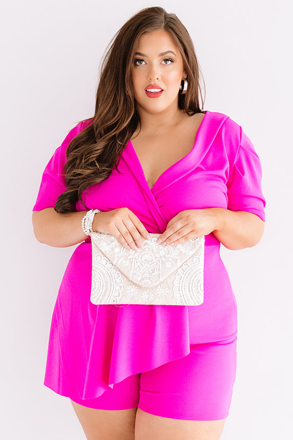 Edge Of Elegance Romper In Fuchsia