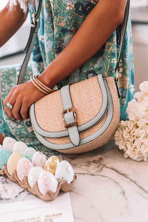 Chic Surroundings Woven Crossbody In Airy Blue