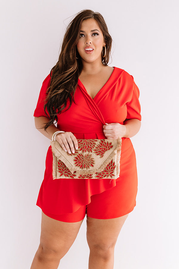 Edge Of Elegance Romper In Red
