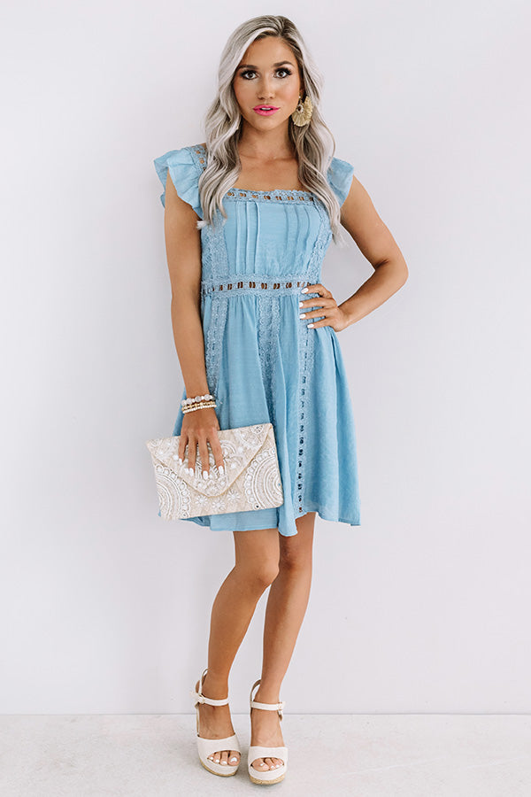 Postcard Perfection Lace Dress In Airy Blue