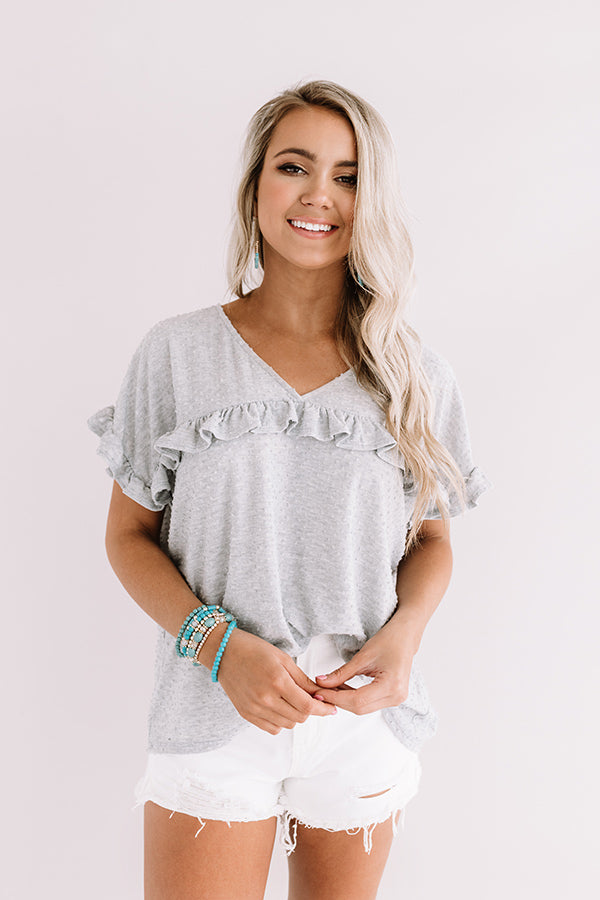 Sippin' In St. Thomas Shift Top In Grey