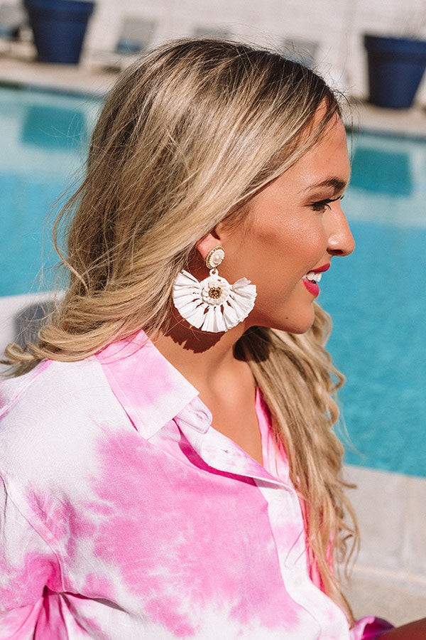 Endless Dreaming Fan Earrings In White