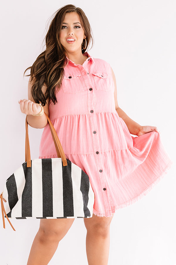 Text You Later Shift Dress In Pink