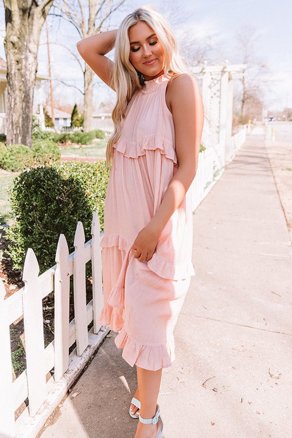 Lovely Alliance Midi In Peach