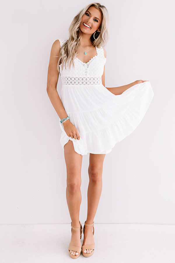 Cocktails In Caicos Crochet Dress In White