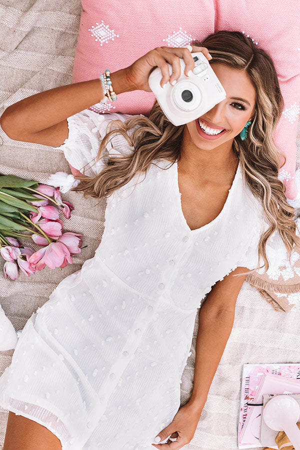 SoCal Situation Button Down Dress In White