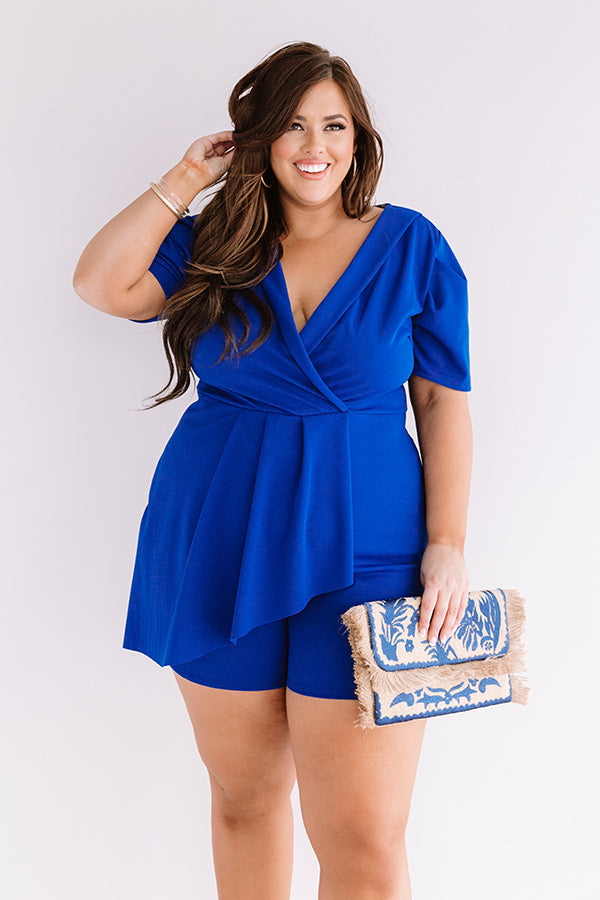 Edge Of Elegance Romper In Royal Blue