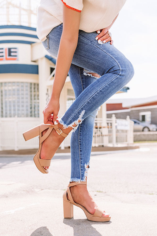 Go On Faux Leather Heel in Tan