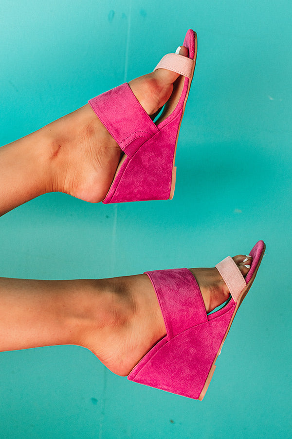 Five Star Suede Wedge in Hot Pink