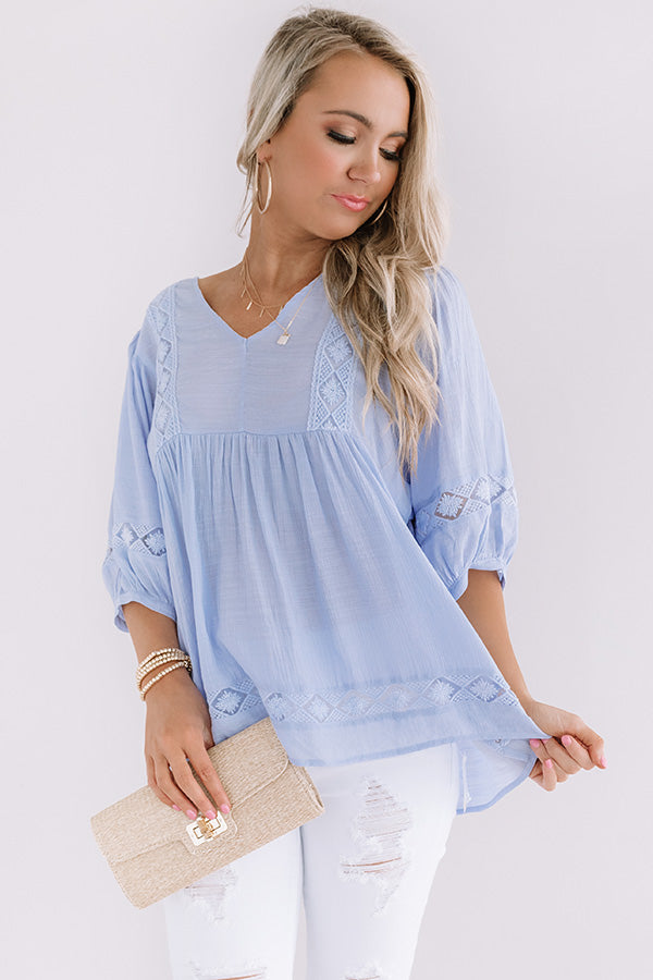 Exciting Sights Babydoll Top In Periwinkle