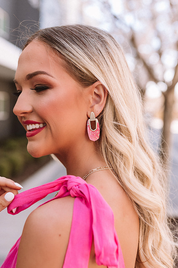 Kailyn Gold Drop Earrings in Iridescent Coral Illusion