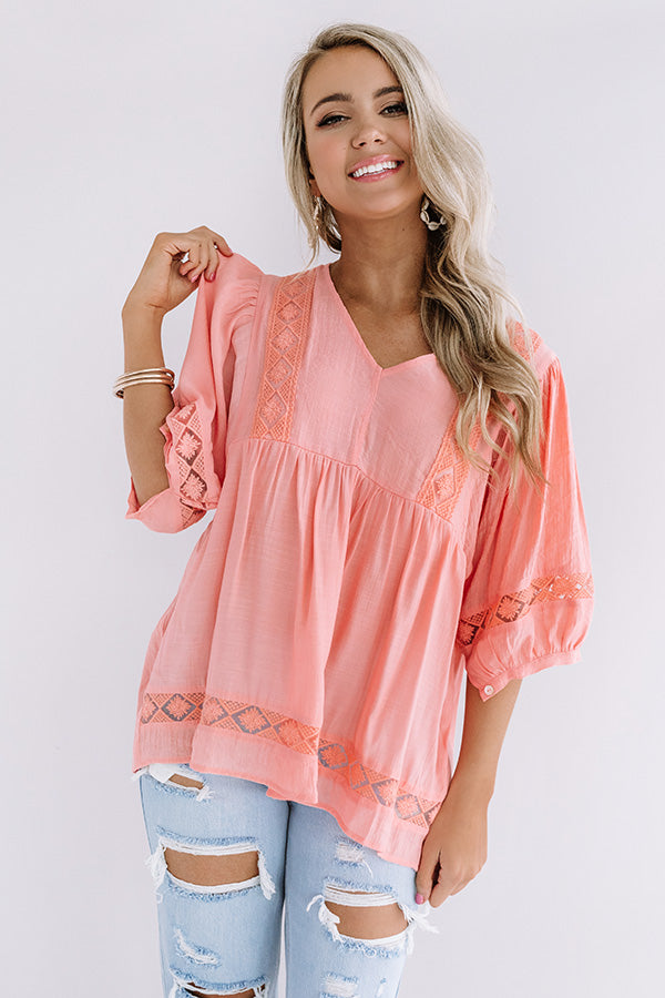 Exciting Sights Babydoll Top In Peach