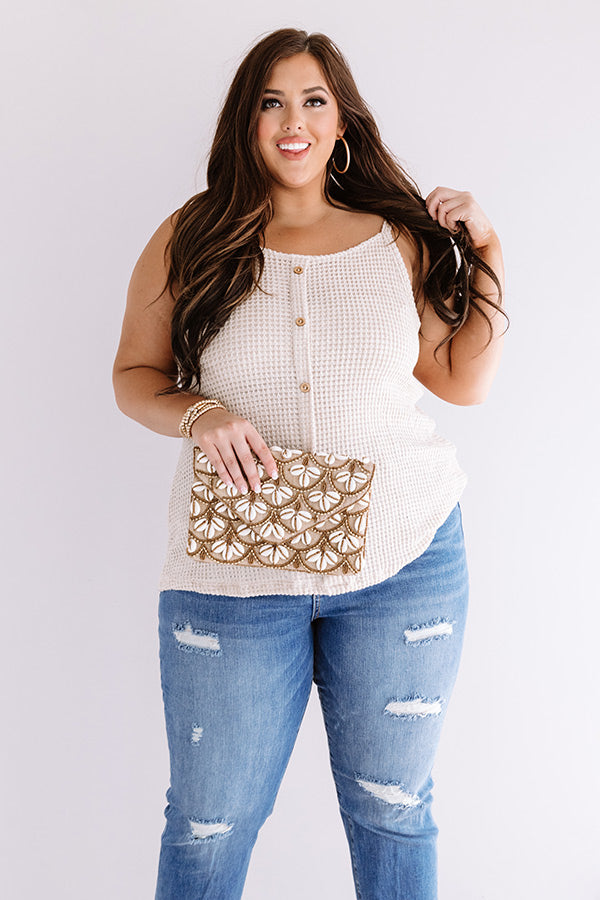 Patio Pretty Waffle Knit Tank In Birch