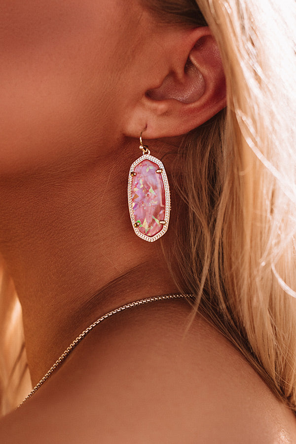 Elle Gold Drop Earrings in Iridescent Coral Illusion