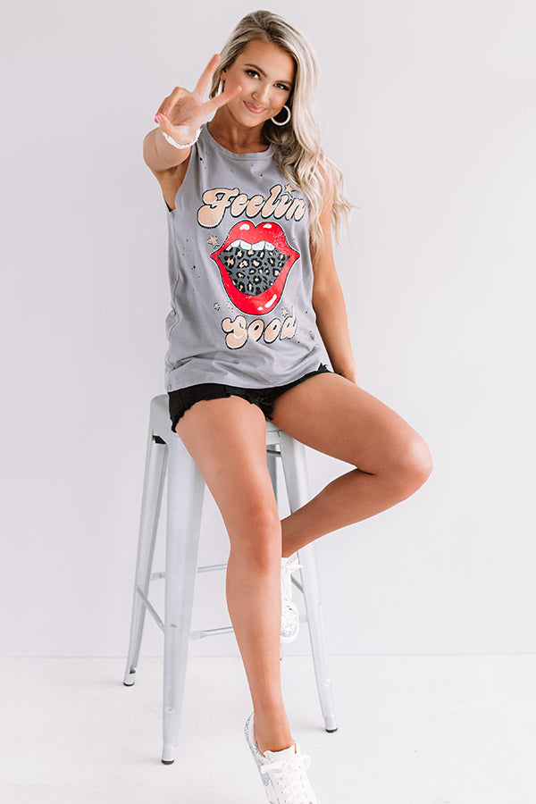Feelin' Good Distressed Boyfriend Tank In Grey