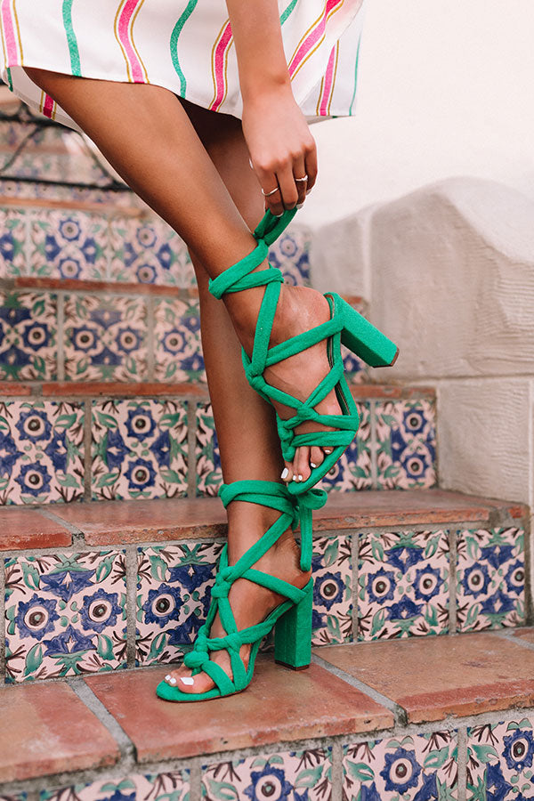 The Nixie Lace Up Heel In Green