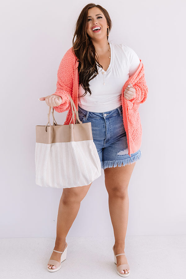 Brunching Babes Popcorn Knit Cardigan In Coral