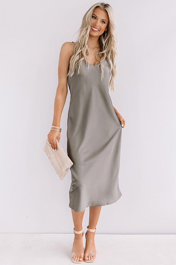 Glam Expectations Satin Midi in Martini Olive