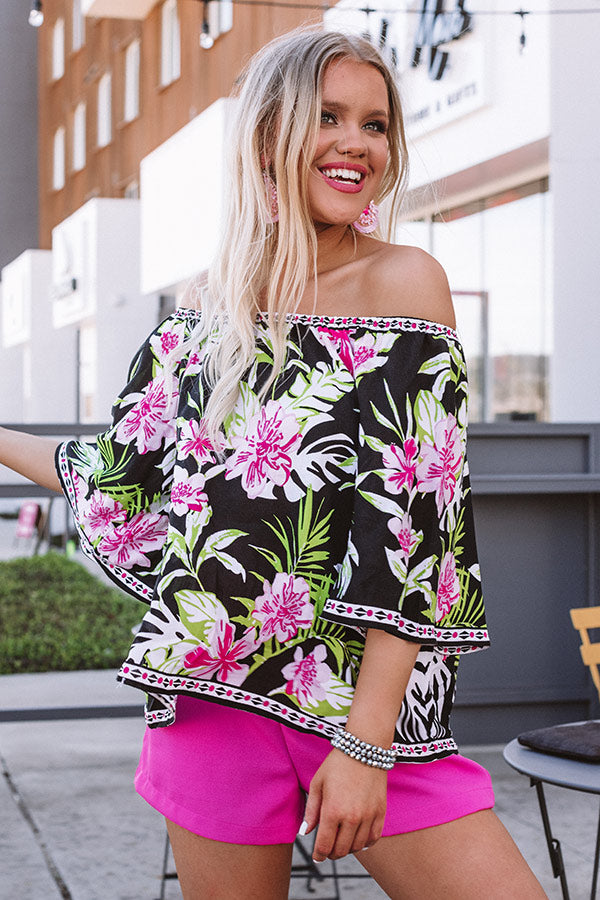 Breezy Blooms Off Shoulder Top In Black