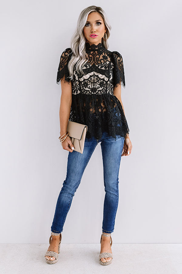 Champagne Splash Lace Top In Black