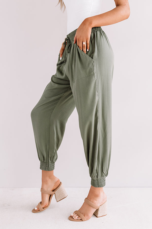 Side Hustle High Waist Pants In Olive