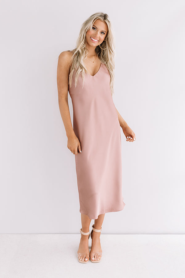 Glam Expectations Satin Midi in Rustic Rose