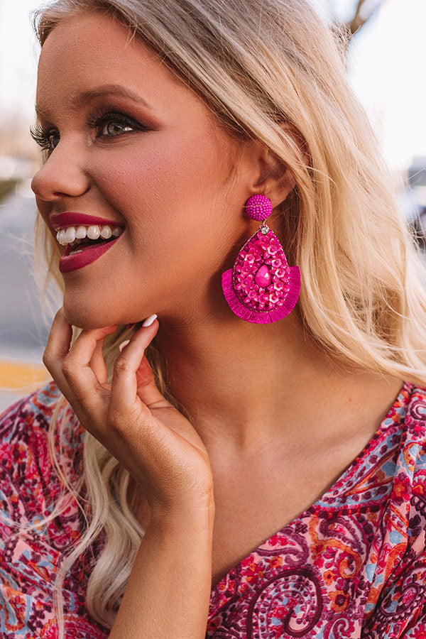 Treasure Of Tulum Earrings In Fuchsia