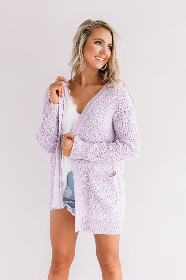 Brunching Babes Popcorn Knit Cardigan in Lavender