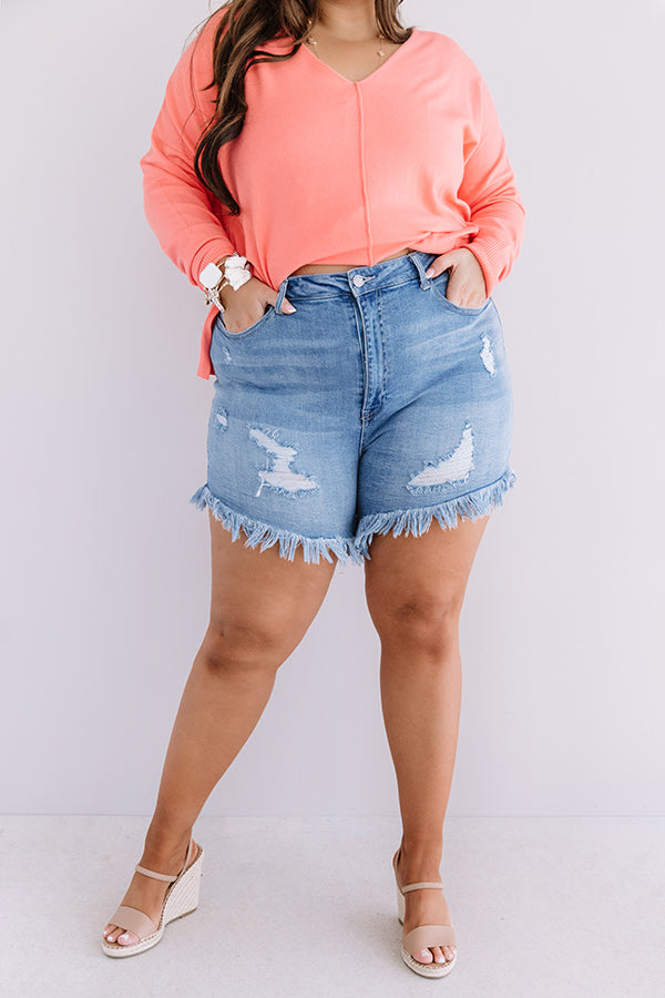 The Kendra High Waist Frayed Shorts In Light Wash