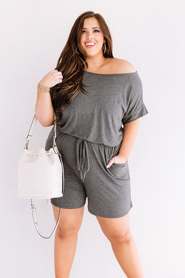Hit Refresh Romper In Charcoal