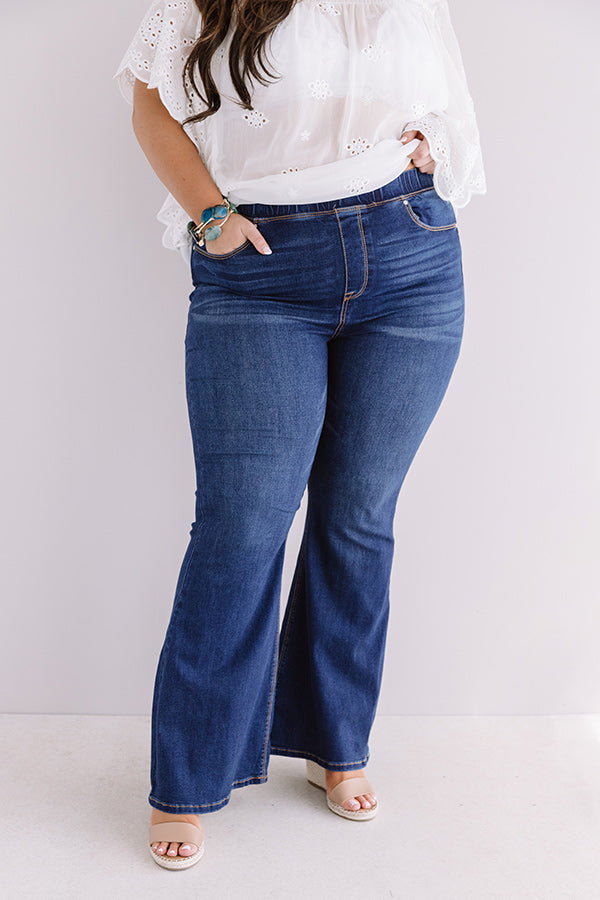 The Elm High Waist Flare In Dark Wash