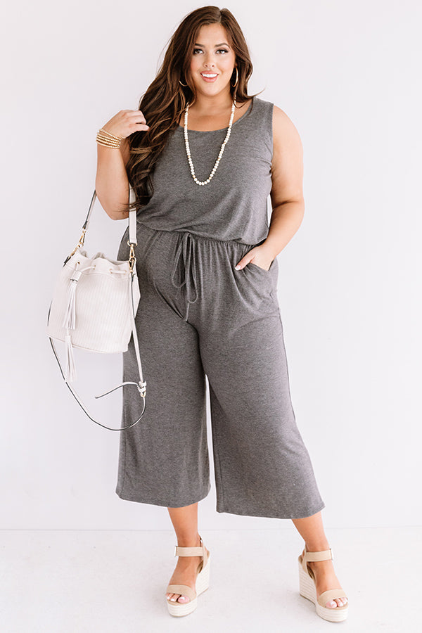 Down And Around Jumpsuit In Charcoal