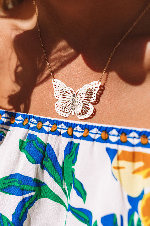Social Butterfly Necklace In White
