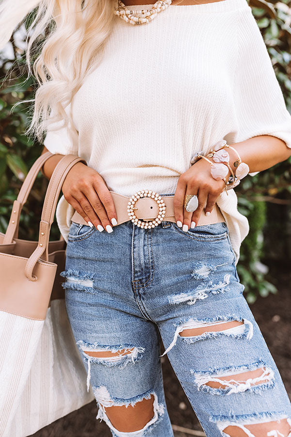Settle For Chic Belt In Iced Latte
