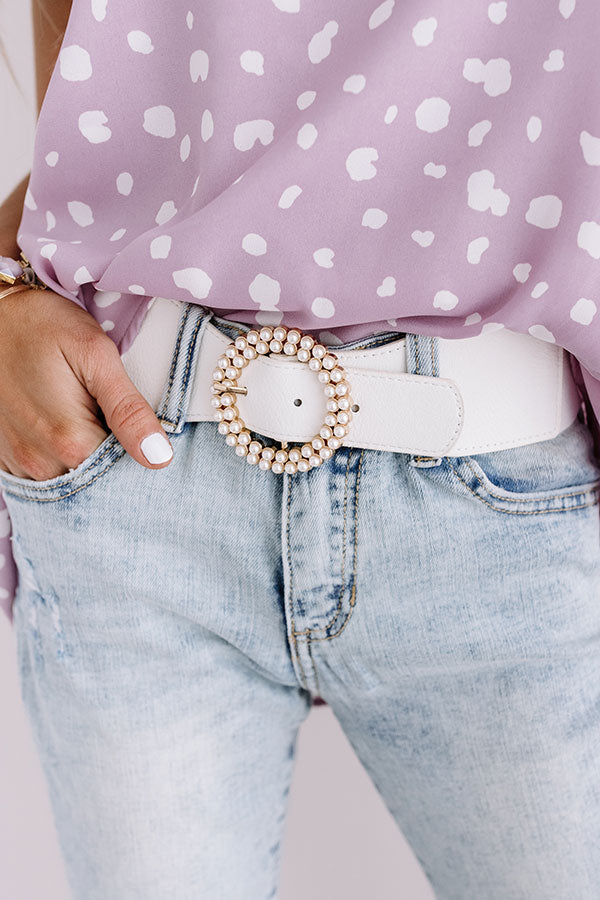 Settle For Chic Belt In White