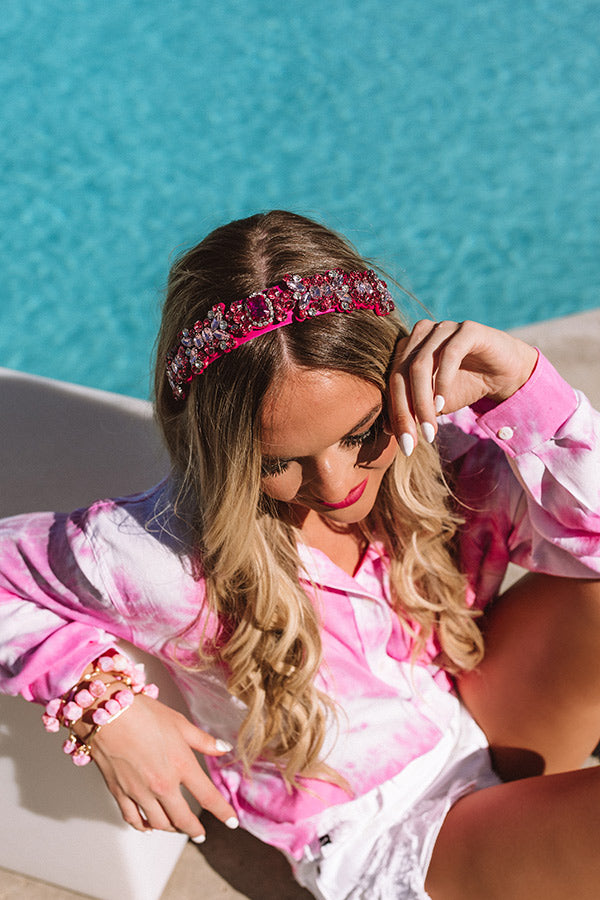 Real Talk Embellished Headband In Fuchsia