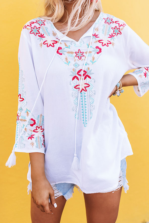 Treasure Of Tulum Embroidered Top In White