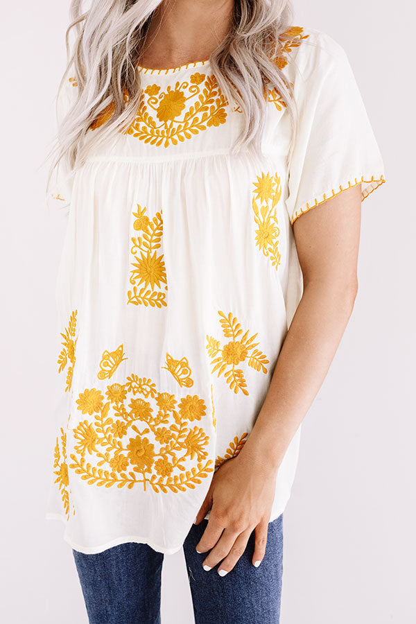 Cozy Cabana Embroidered Top In Ivory