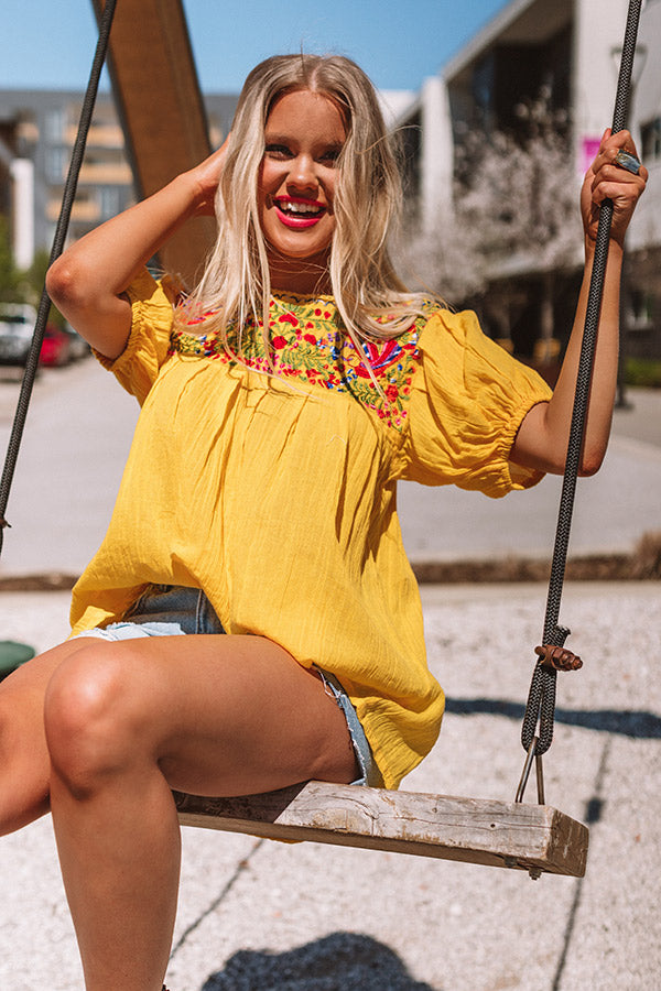 Barefoot In Barcelona Embroidered Top In Yellow