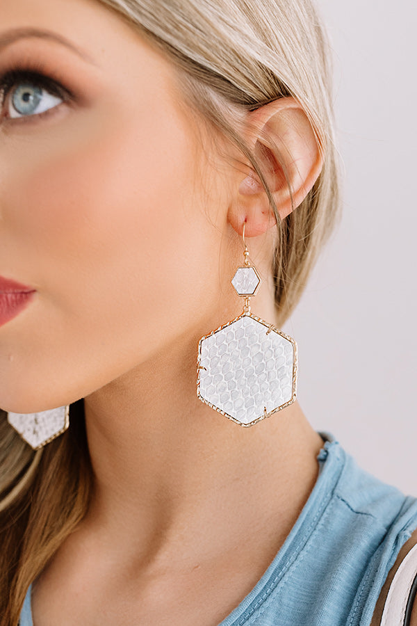 Vegas Suite Snake Print Earring in White