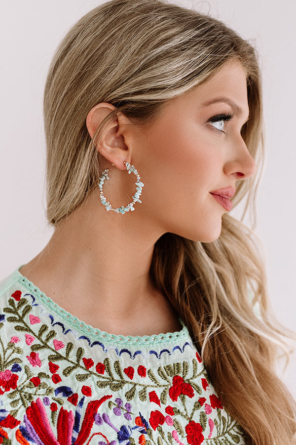 Sailing To Santorini Hoop Earrings in Aqua