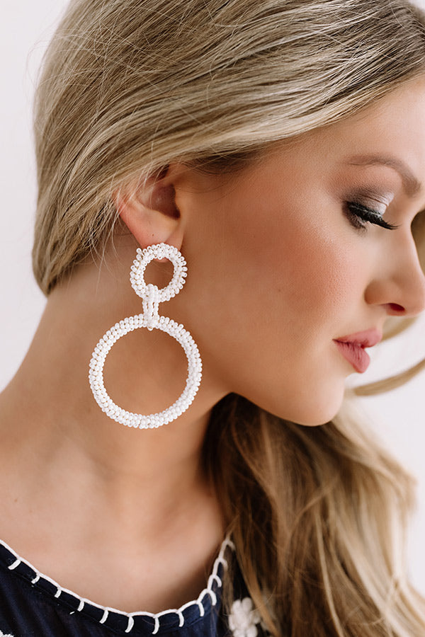 Pebble Beach Party Beaded Earring in White