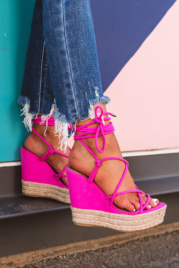 The Roxana Lace Up Wedge In Hot Pink