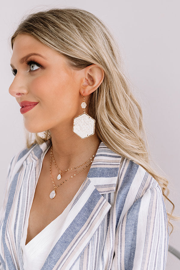 Vegas Suite Snake Print Earring in Cream