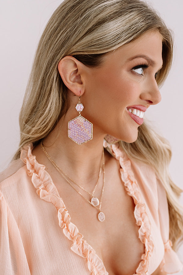 Vegas Suite Snake Print Earring in Blush