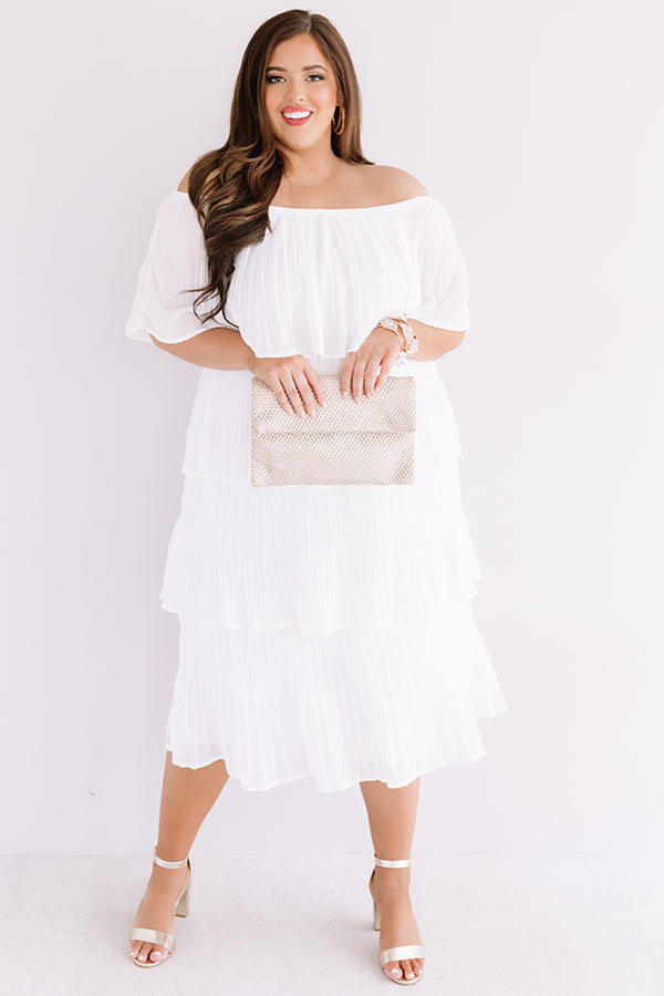 Top Of The World Tiered Dress In White