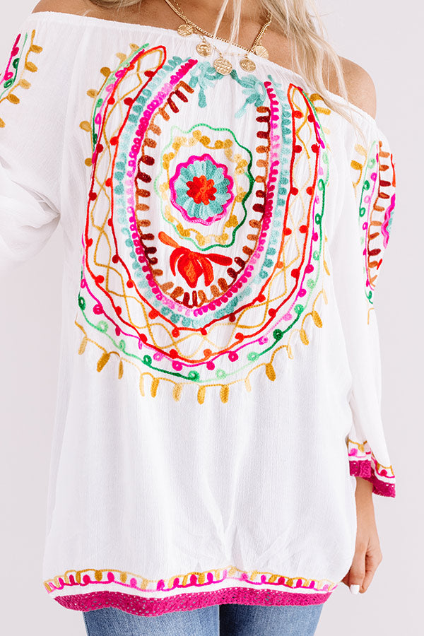 Sandy Dream Embroidered Off Shoulder Top